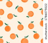 seamless of orange with green... | Shutterstock .eps vector #1786075022