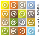 flat icon collection with gears ...