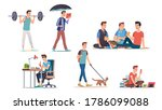 young man lifestyle   hobbies... | Shutterstock .eps vector #1786099088