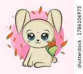 cute vector rabbit with a... | Shutterstock .eps vector #1786106975