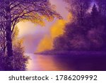Painting Of Trees With River In ...