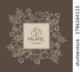 background with falafel in pita ... | Shutterstock .eps vector #1786264115