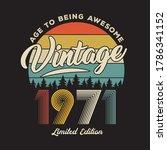 1971 vintage retro t shirt... | Shutterstock .eps vector #1786341152
