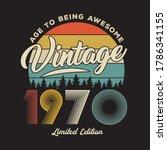 1970 vintage retro t shirt design, vector, black background