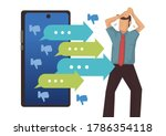smartphone with attacking... | Shutterstock .eps vector #1786354118