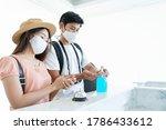 Asian Couple Traveler Wear Mask ...