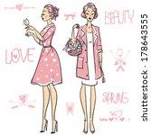 beautiful women  | Shutterstock .eps vector #178643555