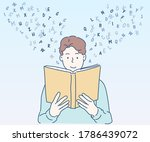 young man reading a book. hand... | Shutterstock .eps vector #1786439072