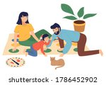 family has fun playing twister... | Shutterstock .eps vector #1786452902