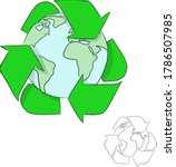 earth with recycle sign vector...   Shutterstock .eps vector #1786507985