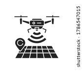 Drone Tracking Black Glyph Ico...
