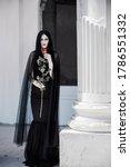 Woman In Black Long Dress ...