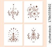 doodle mystic set of 4 vector... | Shutterstock .eps vector #1786555802