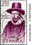 Small photo of MADRID, SPAIN - JULY 24, 2020. Vintage stamp printed in Spain shows Francisco Alvarez de Toledo (1515 - 1582), also known as The Viceroyal Solon, was the fifth Viceroy of Peru