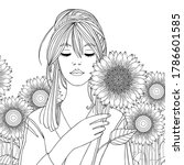 pretty girl with sunflowers.... | Shutterstock .eps vector #1786601585