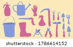 simple and cute garden tools... | Shutterstock .eps vector #1786614152