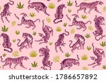 Pink Tigers And Tropical Leaves....