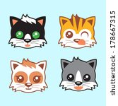 kitten heads vector | Shutterstock .eps vector #178667315