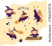 witch cartoon vector  cute... | Shutterstock .eps vector #1786692578
