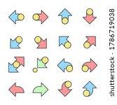 arrows icons color line  set...