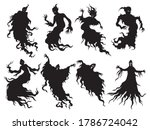 set of silhouettes ghosts.... | Shutterstock .eps vector #1786724042