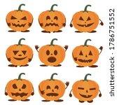 set of halloween pumpkins on...   Shutterstock .eps vector #1786751552