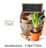 Spring time. Beautiful spring flowers and gardening tools on a white background. - stock photo