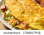 Homemade Ham and Pepper Denver Omelette with Cheddar Cheese