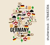 Germany landmark map silhouette icon on retro background, vector illustration - stock vector