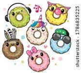 Set Of Cute Cartoon Donuts...