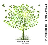 a green tree with birds.... | Shutterstock .eps vector #1786850615