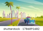 Summer Travel By Car. Vector...
