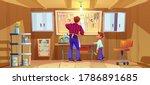 carpenter and his son do craft...   Shutterstock .eps vector #1786891685