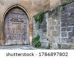 Heavy Wooden Door. Ancient Gat...