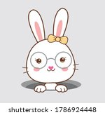 Vector Of Cute White Bunny With ...