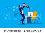 bringing kids to office  ... | Shutterstock .eps vector #1786939715