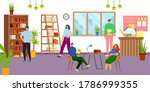 library interior with people ... | Shutterstock .eps vector #1786999355