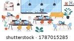 modern mid century office  open ... | Shutterstock .eps vector #1787015285
