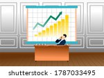 business man sitting at desk ... | Shutterstock .eps vector #1787033495