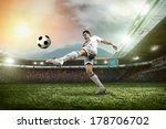soccer player with ball in... | Shutterstock . vector #178706702