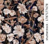 botanical floral seamless... | Shutterstock . vector #1787177678