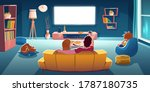 family sitting on sofa and... | Shutterstock .eps vector #1787180735
