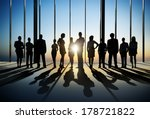 Stock photo silhouette of business people posing by window 178721822