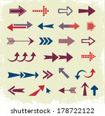 arrow set  retro style  | Shutterstock .eps vector #178722122