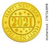 gold medal for 2021   new year... | Shutterstock .eps vector #1787263898