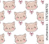 seamless pattern cute cat and...   Shutterstock .eps vector #1787288702