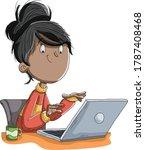 cartoon girl working with... | Shutterstock .eps vector #1787408468
