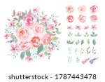 water color rose with green...   Shutterstock . vector #1787443478