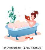 bath time home spa flat concept ... | Shutterstock .eps vector #1787452508