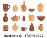 clay kitchenware assortment set.... | Shutterstock .eps vector #1787452922